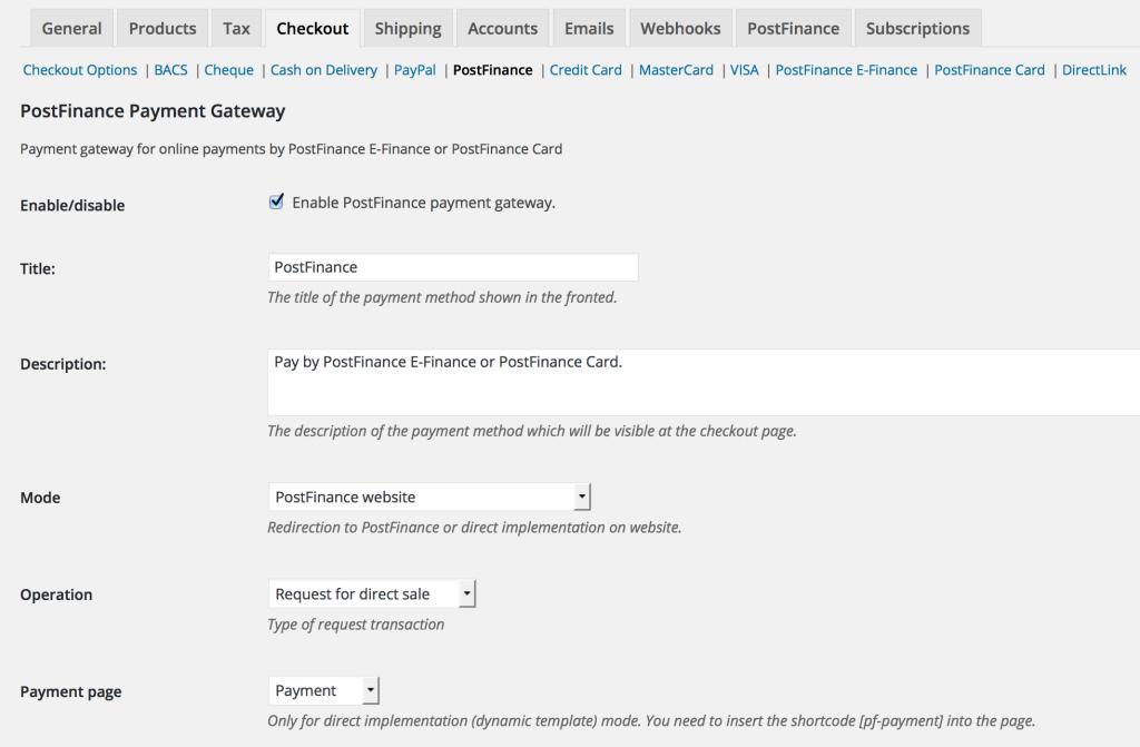 postfinance woo gateway settings general