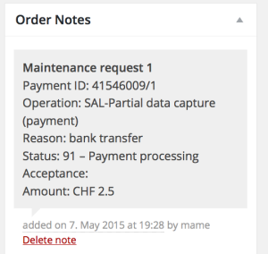 postfinance woo order notes